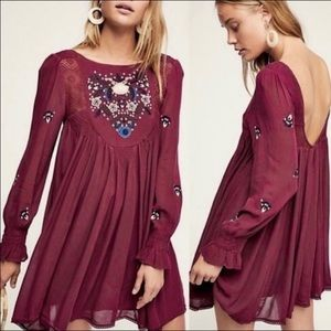 Free People Mohave Embroidered Maroon Tunic Dress